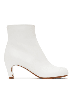 Maison Margiela White Leather Tabi Ankle Boots