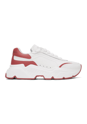Dolce and Gabbana White and Pink Daymaster Sneakers