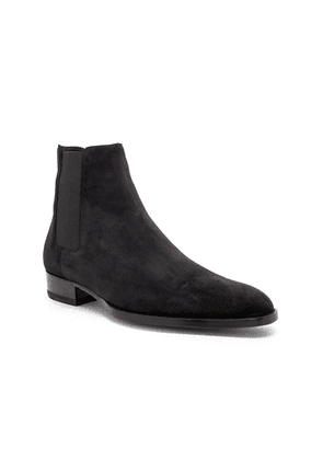 Saint Laurent Suede Wyatt 30 Chelsea Boots in Black - Black. Size 42 (also in 41,43,44).