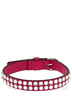 Leather Choker W/ Crystal Studs