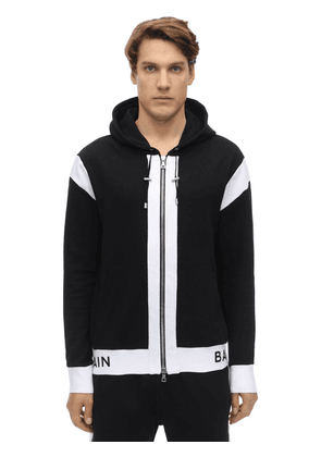 Logo Zip-up Cotton Jersey Hoodie
