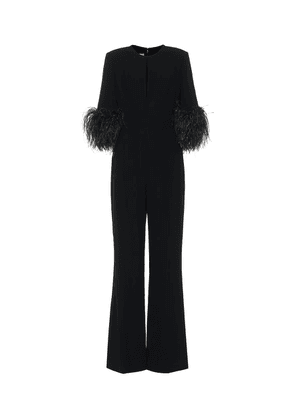 Exclusive to Mytheresa – Feather-trimmed crêpe jumpsuit