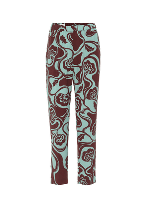 Floral high-rise tapered pants