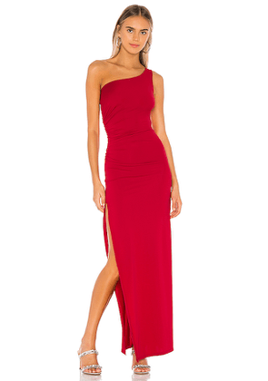 superdown Mabel Ruched Maxi Dress in Red. Size L.