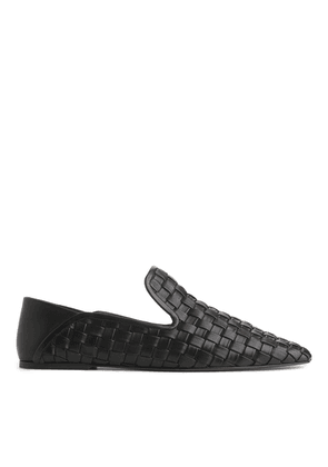 Woven Leather Loafers - Black