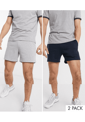ASOS DESIGN 2 pack jersey slim shorts in shorter length in navy/grey marl save-Multi
