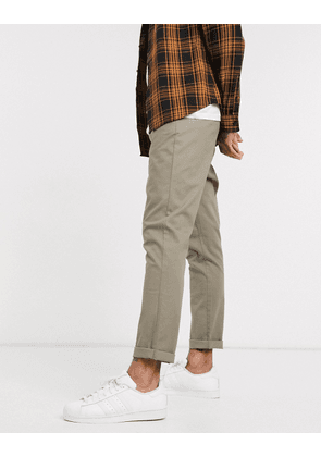 ASOS DESIGN tapered chinos in light khaki-Green