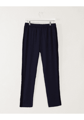 ASOS DESIGN slim striped trousers with side stripe-Navy