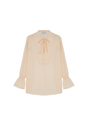 Forte forte Cream Cotton And Silk-blend Shirt