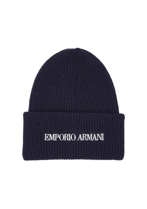 Emporio Armani Navy Logo-embroidered Ribbed Beanie