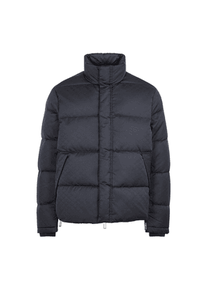 Emporio Armani Navy Logo-jacquard Quilted Shell Jacket
