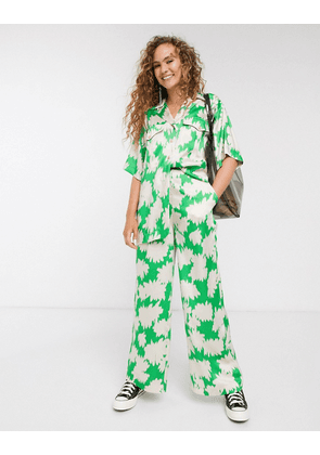 Topshop Boutique satin trousers co-ord in green print