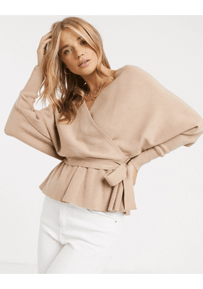 New Look v front and back wrap jumper in blush-Black