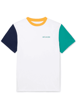 Aimé Leon Dore - Logo-Embroidered Colour-Block Cotton-Jersey T-Shirt - Men - White