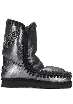 Mou Eskimo eagle embellished boots - Grey