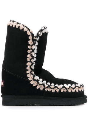 Mou stitch-detail boots - Black