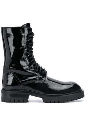 Ann Demeulemeester patent leather lace-up boots - Black