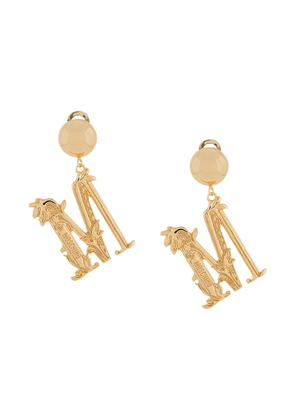 Moschino M logo clip-on earrings - GOLD