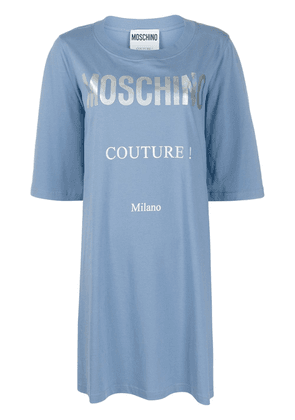 Moschino logo-print T-shirt dress - Blue