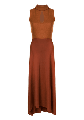 Victoria Beckham high neck sleeveless midi dress - Brown