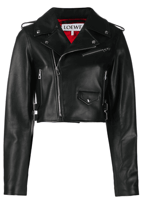 Loewe cropped leather jacket - Black