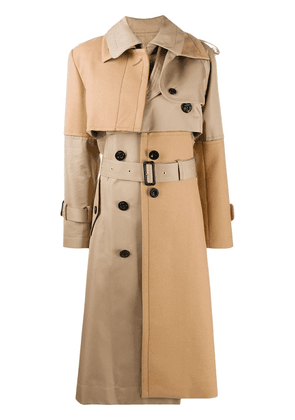 Sacai leather panelled trench coat - Neutrals