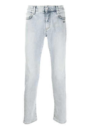 Off-White logo print slim-fit jeans - Blue