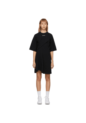 Palm Angels Black Logo Draped Dress