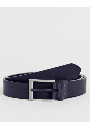 ASOS DESIGN slim reversible belt in black and navy faux leather with silver buckle