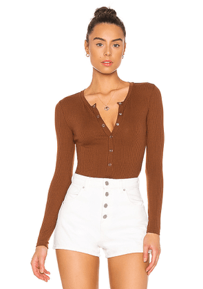 Privacy Please Peoria Bodysuit in Chocolate. Size S,XS.
