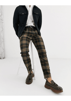 ASOS DESIGN slim smart trousers in brown check 100% lambs wool