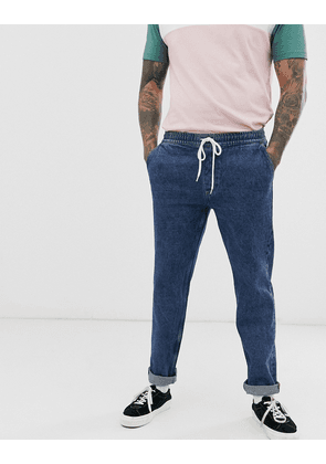 ASOS DESIGN original fit jeans with elasticated waist in flat mid blue