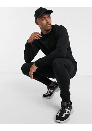 ASOS DESIGN muscle tracksuit in black