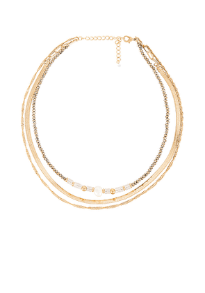 8 Other Reasons Amelia Necklace in Metallic Gold.