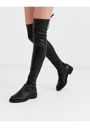 New Look chunky leather look over the knee flat boots in black