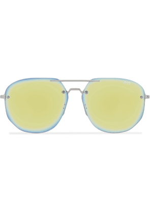 Berluti - Rimless Aviator-Style Silver-Tone Sunglasses - Men - Green