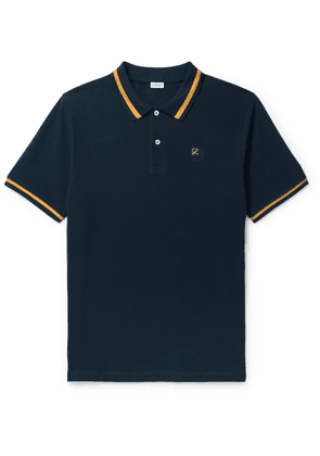 Loewe - Logo-Embroidered Contrast-Tipped Cotton-Piqué Polo Shirt - Men - Blue