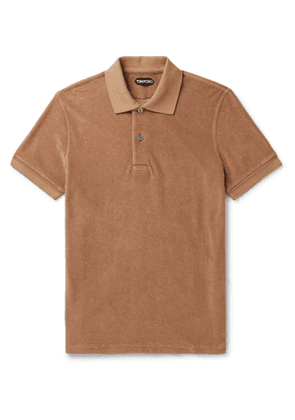 TOM FORD - Slim-Fit Cotton-Terry Polo Shirt - Men - Brown