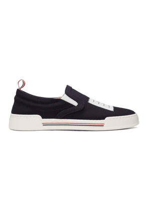 Thom Browne Navy Canvas Slip-On Sneakers