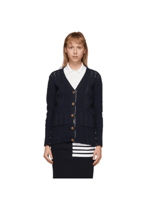 Thom Browne Navy Anchor V-Neck Cardigan
