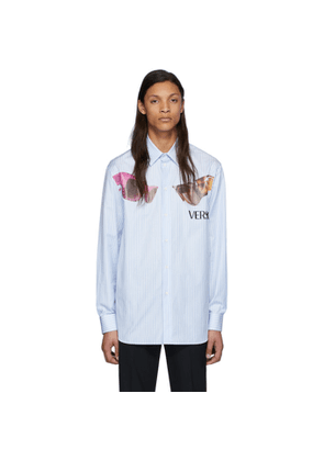 Versace White and Blue Striped Sunglasses Print Shirt