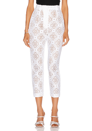 Alexander McQueen High Waist Lace Pant in Optical White - White,Lace & Eyelet. Size 42 (also in ).