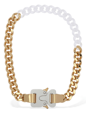 Two Tone Chain Necklace W/ Fixed Buckle