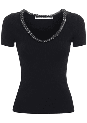 Viscose Blend T-shirt W/ Chain Detail