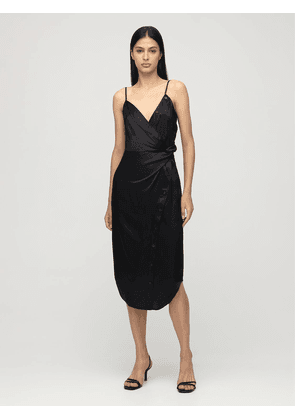 Draped Silk Satin Midi Dress