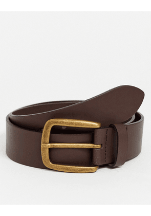 ASOS DESIGN leather wide belt in brown with vintage gold buckle