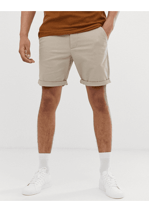 ASOS DESIGN slim chino shorts in beige