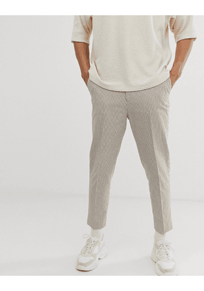 ASOS DESIGN tapered crop smart trousers in beige seersucker stripe