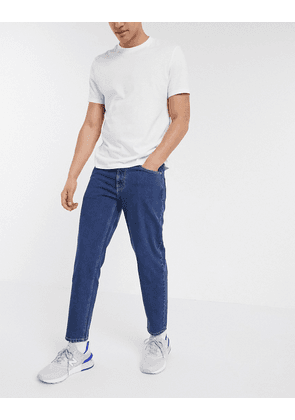 ASOS DESIGN classic rigid jeans in mid stone wash blue