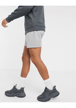 ASOS DESIGN jersey slim shorts in shorter length in grey marl